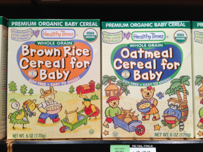 Healthy Times Whole Grain Cereal For Baby - Brown Rice or Oatmeal